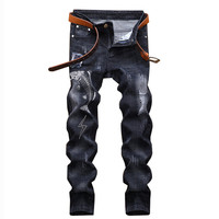 MORUANCLE Men Ripped Embroidered Jeans Pants Fashion Slim Fit Distressed Denim Trousers With Embroidery Washed Black Size 28 38