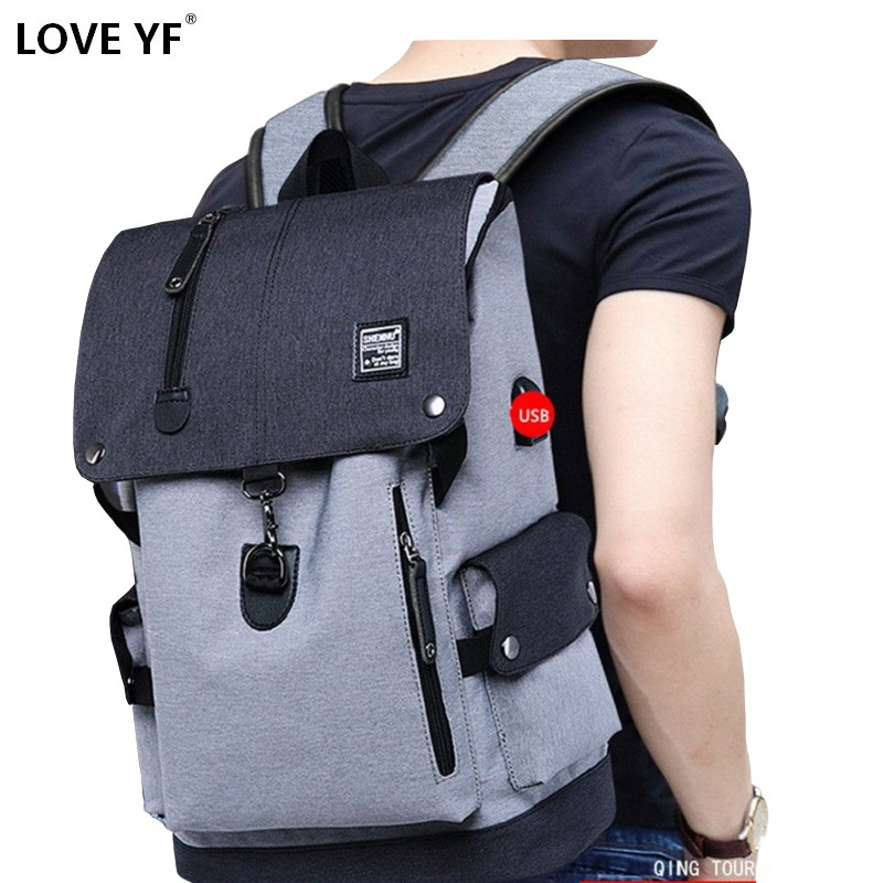 Men's Casual School Bag Youth School Backpack USB Charging Anti-theft Backpacks Travel Bag Fashion School Backpack Boy Mochila