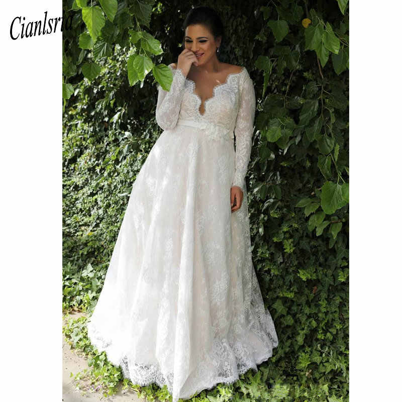 Plus Size Empire Waist Wedding Dress With Sleeves 53 Off Teknikcnc Com,Lace Wedding Dress With Bow In Back