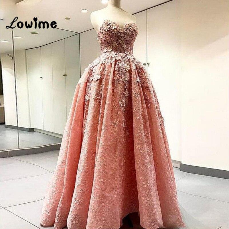 Corail Puffy Dentelle Robes De Bal 3D Fleur Formelle Femmes Robe De Soirée  2018 Custom Made 8555234118b6