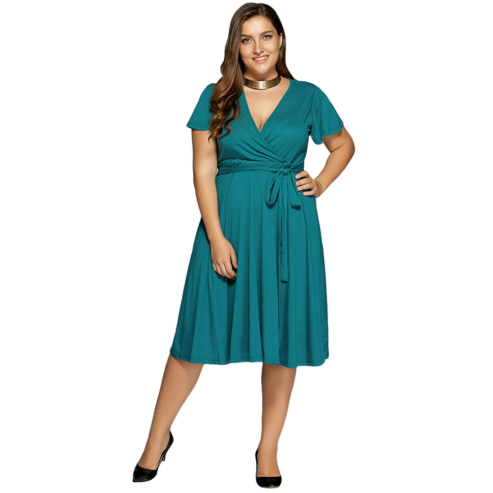 3edf160c90 Funoc Ladies Low Cut A Line Plus Size Surplice Front Tie Swing Dress 2017  Sweet V Neck Chiffon Ocean Blue Casual Dresses-in Dresses from Women s  Clothing ...