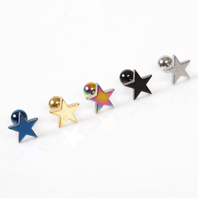 1 Piece !!! Punk Jewelery Accessories Unisex Exaggerated Personality Star Pentagram Titanium Steel Earring