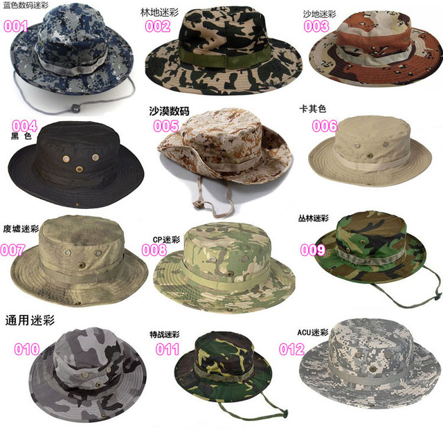 Free shipping 5pcs lot camouflage men boonie hat military caps Hiking  camping outdoor army green fishman hat Sunshade casquette 2d81f46c077