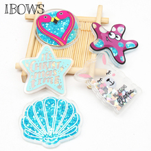 IBOWS 2pcs Acrylic Liquid Quicksand Pacthes Sequin Shell Flamingo Star for DIY Hair Bow Accessories Handmade Phone Case Supplier