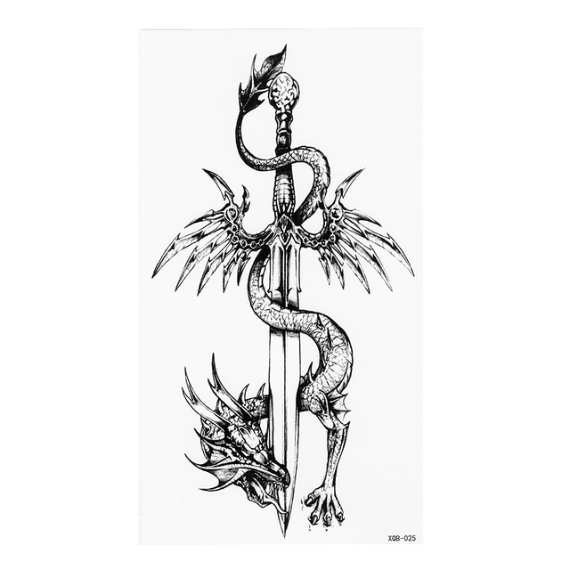 Chino Totem Dragon Y Espada Negro Blanco Gran Flor Henna Tatuaje