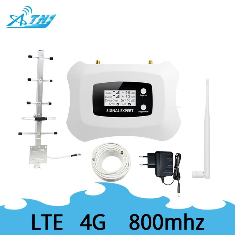 ATNJ 4G LTE mobile signal booster 800 mhz à gain élevé 4g répéteur de signal amplificateur kit avec LCD + 350 m² de couverture