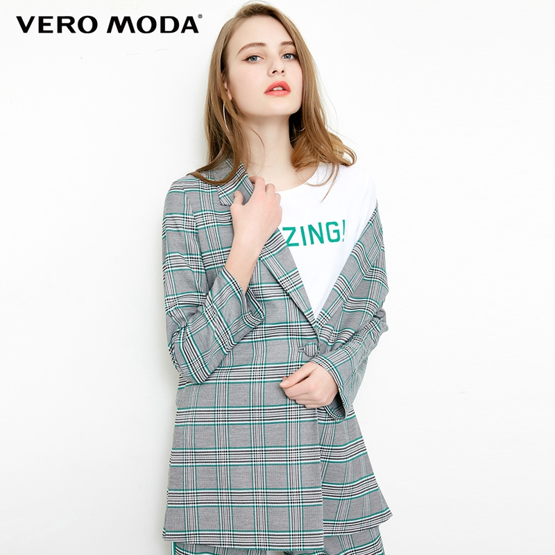 Vero Moda Plaid Pattern New Two-way Sleeves Casual Suit Jacket Long Plaid Blazer For Women | 318308507