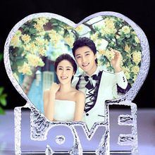 10*10CM Souvenirs Custom Made Heart Crystal Photo Frame Glass Album for Pictures Frame Wedding Decoration Friends Unusual Gift(China)