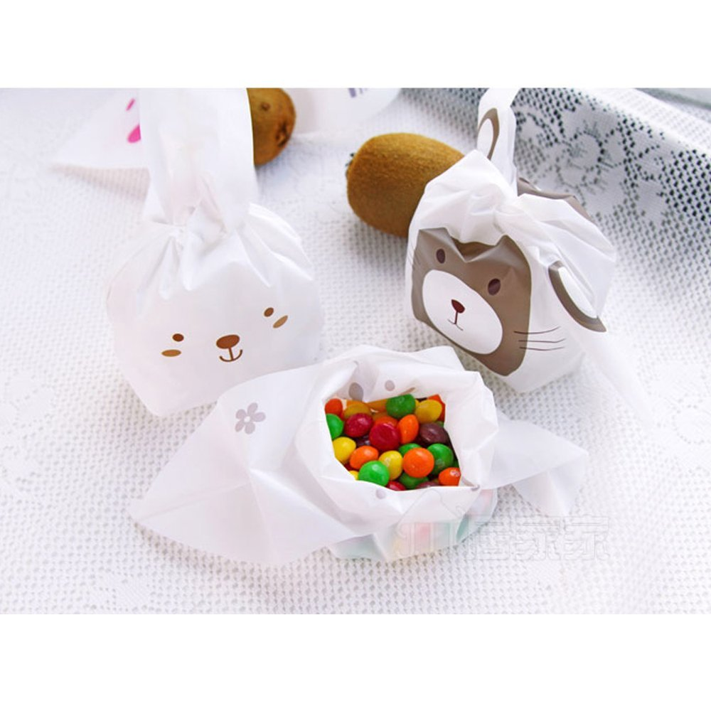 Aliexpress buy 100pcs halloween bunny candy bags easter gift aliexpress buy 100pcs halloween bunny candy bags easter gift bags rabbit ear biscuit cake food packaging for party wedding birthday decoration from negle Images