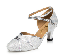 Wholesale New Ladies Silver Glitter Ballroom LATIN SALSA Tango Dance Shoes Heels Bachata Dance Shoes Suede Sole for Ballroom
