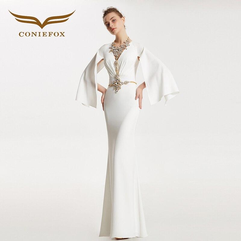 CONIEFOX 31825 Deep-V Mermaid Retro sexy Ladies Retro elegance Appliques prom dresses party evening dress gown long 2017