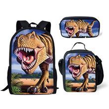 NOISYDESIGNS Boys Dino School Bags Kids Tyrannosaurus Rex Dinosaur Printing Backpack Children 3pcs/set Schoolbag Bolsa