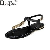 DoraTasia 2018 Wholesale Large Size 31 46 Cow Genuine Leather Summer Sandal Shoes Women Fashion Flat