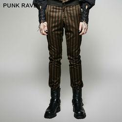 Панк рейв стимпанк мода личности винтажные мужские брюки сценическое представление косплей мужские s брюки полосатые брюки карандаш брюки