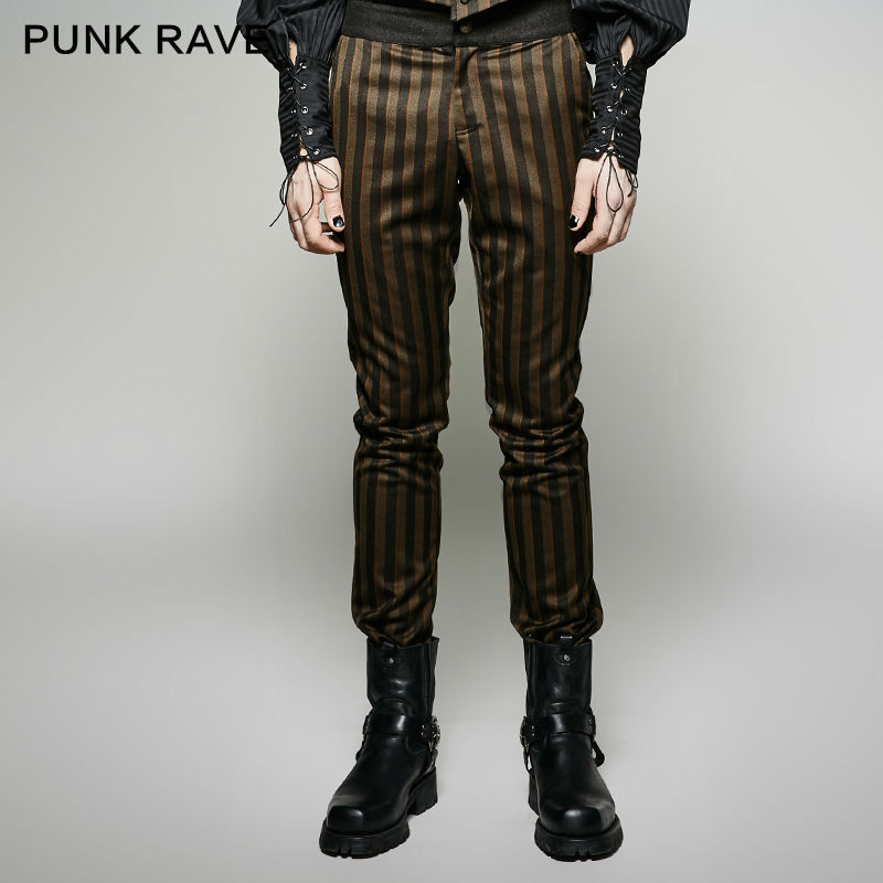 Punk Rave Steampunk Fashion Personality Vintage Men Pants Stage Performance Cosplay Mens Trousers Stripe Pants Pencil Pants