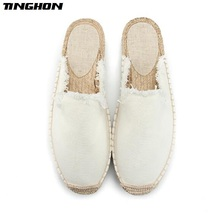 TINGHON Fashion Women Ladies Espadrille Shoes Canvas White Dark Blue Hemps Fisherman Flats