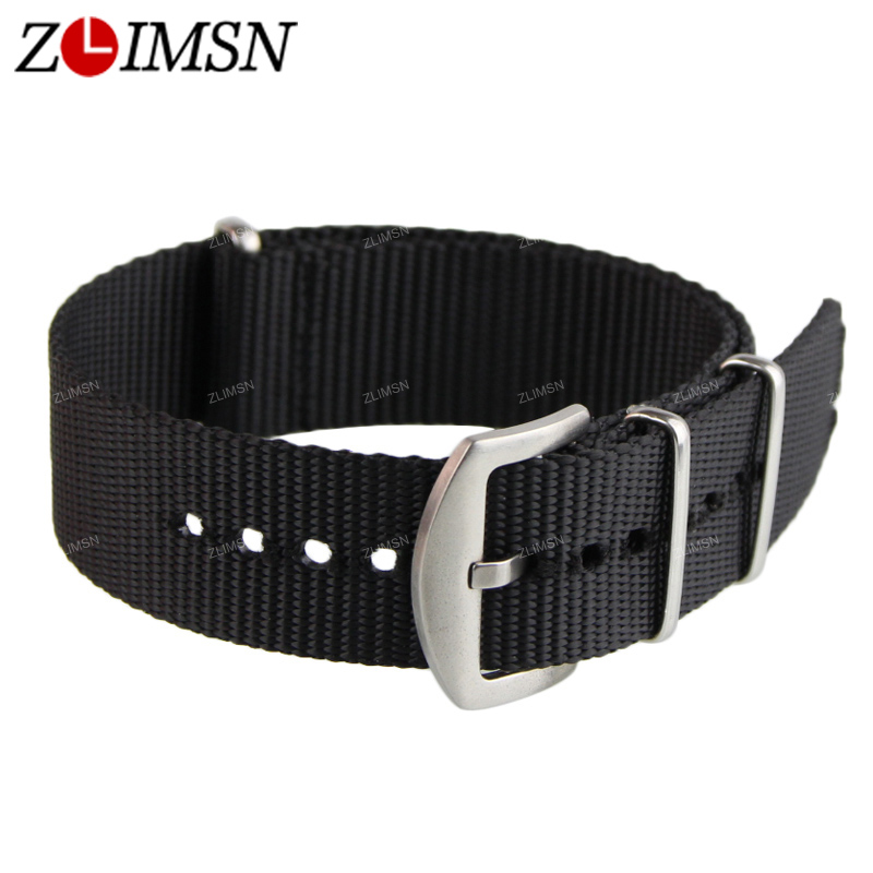 ZLIMSN Latest Black Nylon Watchbands Fabric Canvas Watch Bands Strap Bracelets Stainless Steel Relojes Hombre 2016 22mm 13mm 20mm gold silver fashion watchbands stainless steel watch band new solid links watch bands bracelets relojes hombre