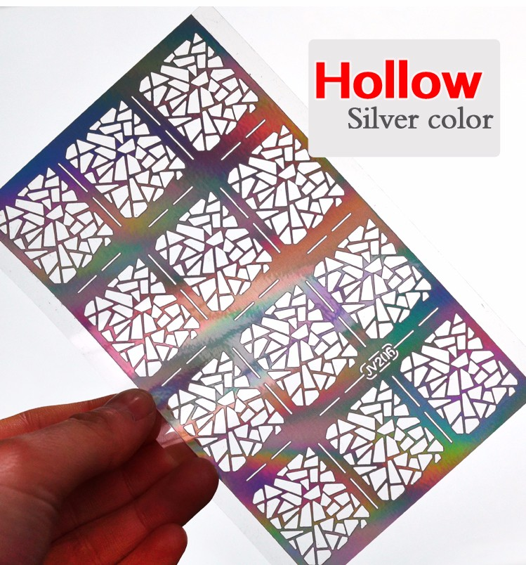 1sheet Silver Hollow Nail Art Template Stencil Stickers Fish Scale Vinyls Image Polish Design Guide Manicure Tools 13