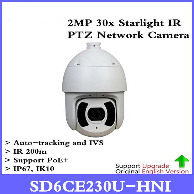 Original English version DH SD6CE230U-HNI 2MP 30x Starlight IR PTZ Network Camera SD6CE230U-HNI without logo dh sd6c430u hni 4mp full hd 30x ir ptz network camera ip66 security camera without logo sd6c430u hni free dhl shipping