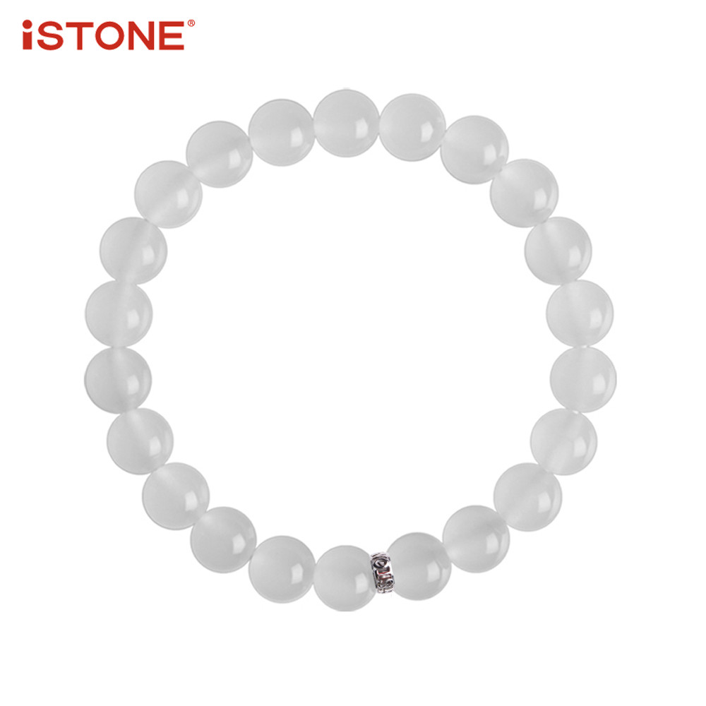 iSTONE 100% Natural Gemstone White Jade Quartzite Bracelets Round Lucky Beads Fine Jewelry Gift for Woman Lover Family
