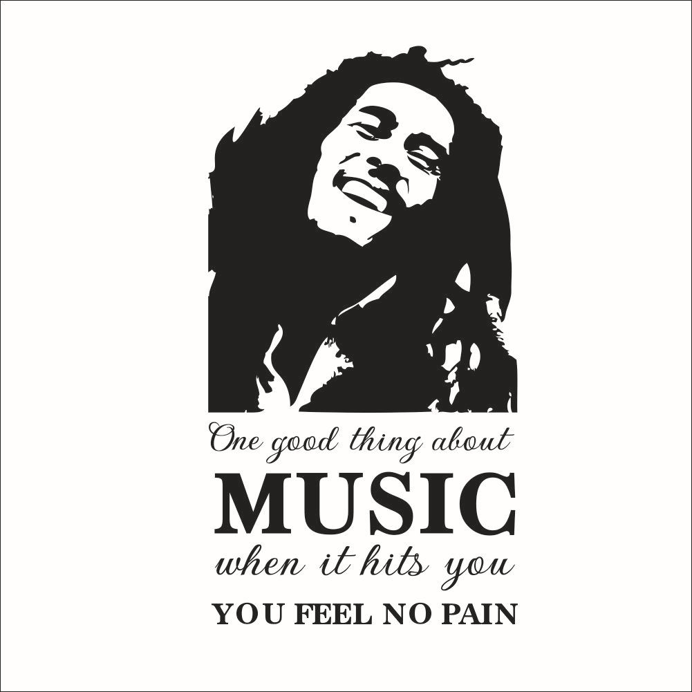 Google themes bob marley - Bob Marley Sketch Music Feel No Pain Quotes Wall Stickers For Bedroom Kitchen Vinyl Decoration Poster Decal Home Decor Mural