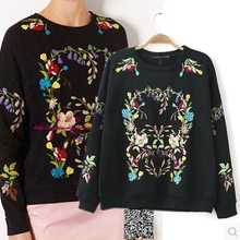 New European and American women's spring wild round neck embroidered flowers casual sweatshirts