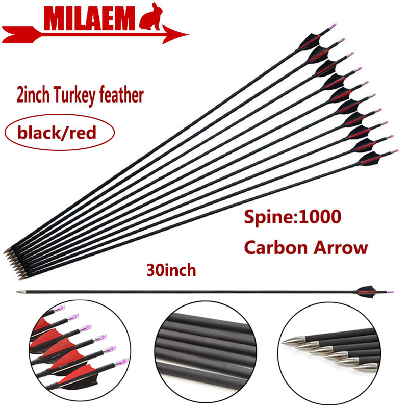6/12pcs 30inch Archery Carbon Arrow Spine 1000 ID4.2mm Composite Carbon Fiber 2inch Turkey Feather Hunting Shooting Accessories-in Bow & Arrow from Sports & Entertainment
