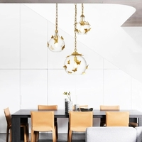 Modern Glass LED Chandelier Lighting Bedroom Living Room Kitchen Fixtures LED Pendant Lamps Lights Golden Butterfly Hanging Lamp