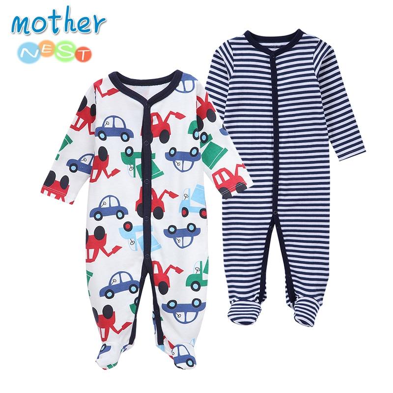 Mother Nest 2pcs Newborn Infantil Baby Clothing Set 100% Cotton Toddler Boys Costume Cartoon Striped Long Sleeve Outfits 0-12M