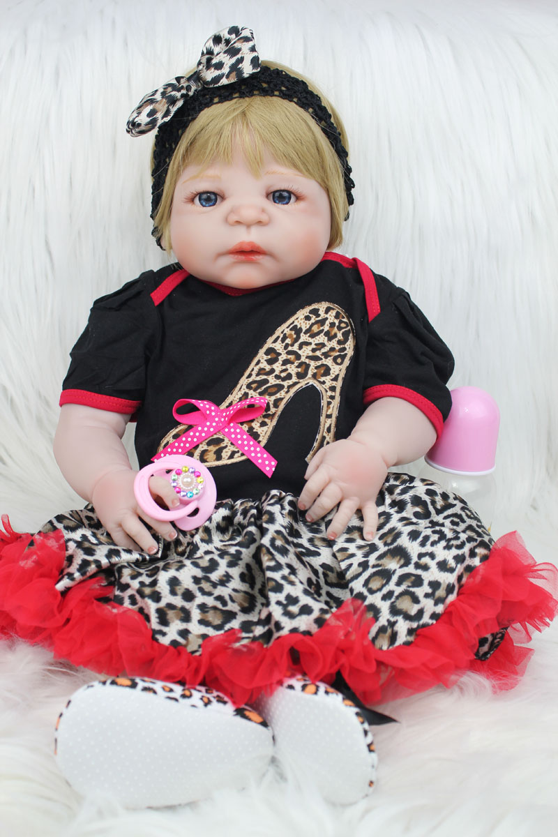 55cm Full Silicone Body Reborn Girl Baby Doll Toy Lifelike 22inch Vinyl Newborn Princess Babies Doll Lovely Birthday Xmas Presen lifelike american 18 inches girl doll prices toy for children vinyl princess doll toys girl newest design