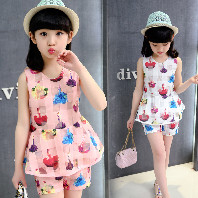 2016 summer big girls dress,girl clothing set kids sleeveless two piece set princess dress 5 6 7 8 9 10 11 12 13 14 years
