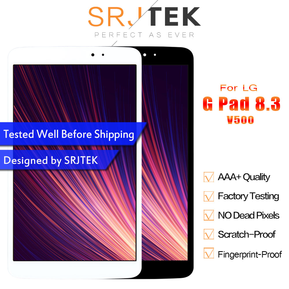 Srjtek LCD For LG G Pad 8.3 V500 Display Touch Screen Digitizer Glass Sensor Assembly Wifi Version Replacement Parts with Frame