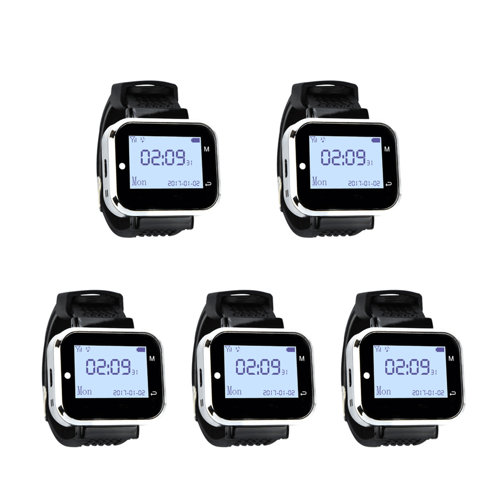 JINGLE BELLS 433 92MHZ 5 pcs of Watch Pager Receiver Wireless Service Call Bells Restaurant Guest