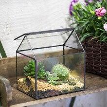 Modern House shape Glass Geometric Terrarium Tabletop Plant Box Planter garden Succulent Fern Moss Bonsai Flower Pot