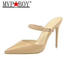 MVP BOY New 2018 Fashion Three Ways Sandals PU Pointed Toe Metal Rhinestone Womens Platform High Heels Shoes Red White