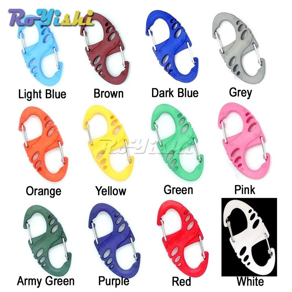 1000 pcs/pack Clips mousqueton en plastique coloré s-biner pour Bracelet de survie Paracord/porte-clés