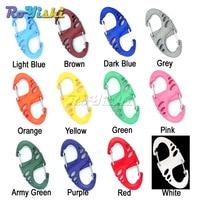 1000pcs/pack Colorful Plastic S shape Carabiner Clips For Paracord Survival Bracelet/Keychain