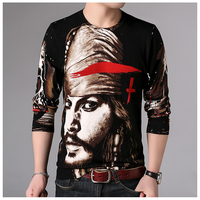 European style pirate character pattern print pullover knitted sweater Autumn 2018 New quality soft comfortable sweater menM 3XL