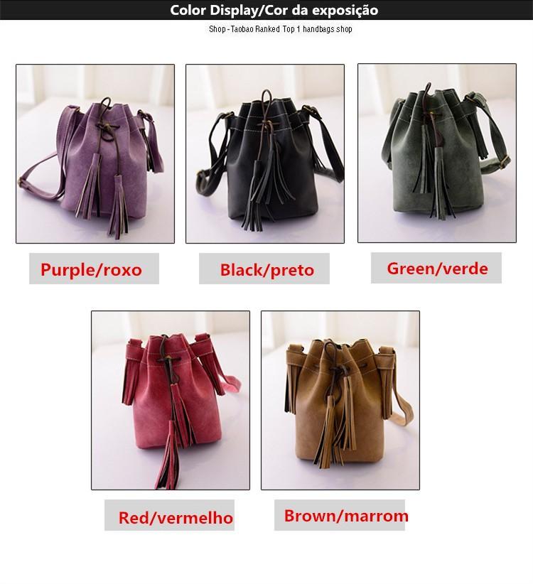 Vintage Bucket Women Shoulder bags Fashion Tassel bags Small Women messenger bags Spring Handbags Tote bolsas femininas BH237 (1)