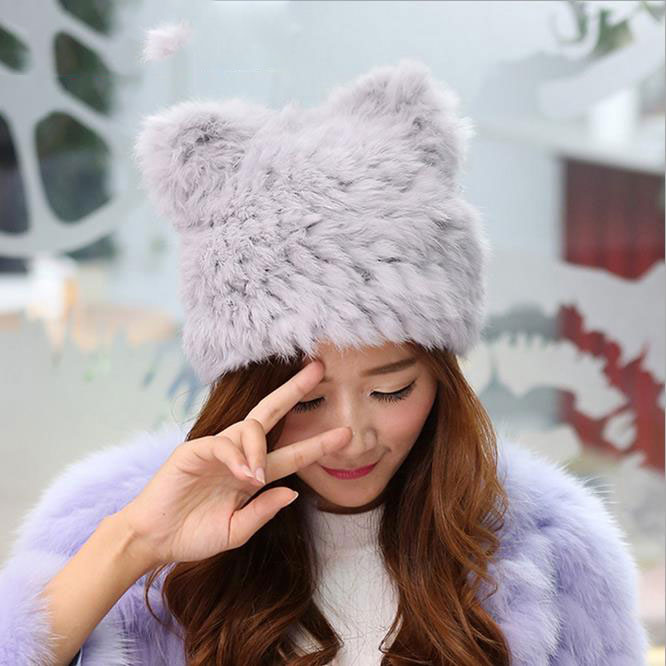 Genuine Knit Rabbit Fur Hat Nature Rabbit fur Cap Headgear Headdress Various Fashion Women stocking stuffers