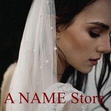 긴 성당 신부 웨딩 베일 tulle 별이 빛나는 진주 신부를위한 빗으로 한 레이어 베일 voile de mariage perles longue
