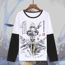 Fate apocrypha sabre cosplay fate stay night fate zero camiseta de manga longa(China)