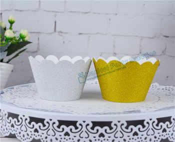 120 pcs Glitter Gold Scalloped Cupcake Wrappers Silver กระดาษ Cupcake Liners กระดาษถ้วยเค้กวันเกิดเค้กตกแต่ง - DISCOUNT ITEM  17% OFF บ้านและสวน