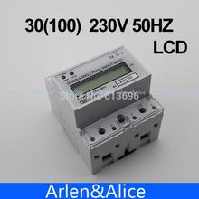 30(100)A 230V 50HZ max 100A  Single phase Din rail KWH Watt hour din-rail energy meter LCD