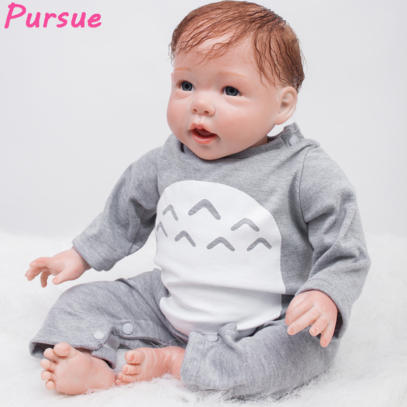 цена на Pursue 53 cm Open Mouth Soft Vinyl Silicone Reborn Babies that Look Real Baby Doll Kids Playmate Gift for Girls Boys Bebe Reborn