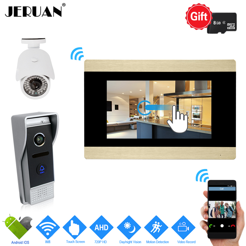 JERUAN 720P IP WIFI 7`` Touch Screen Color Video Door phone Intercom System Kit Record Monitor+HD Camera Support Android IOS+8G jeruan home 7 video door phone intercom system kit rfid waterproof touch key password keypad camera remote control in stock