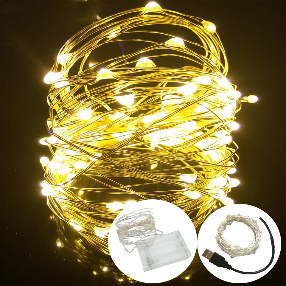 LED String Light 10M 5M 2M 3AA Battery Powered USB Copper Wire String Lights Outdoor Fairy Light For Xmas Garland Party Wedding