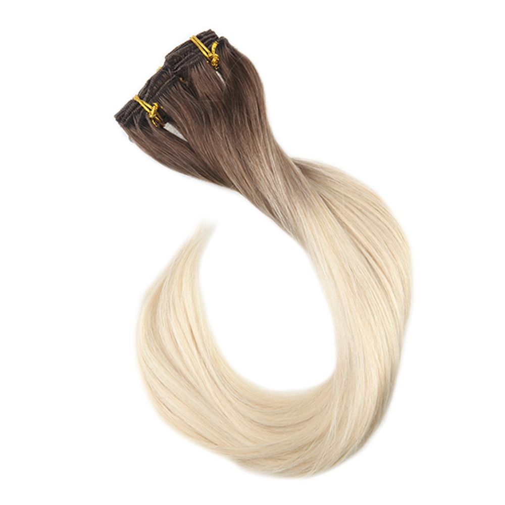 Hair Extensions & Wigs Full Shine Clip In Hair Extensions Human Hair 10pcs Balayage Color #2 Fading To 8 100g Remy Hair Double Weft Clip In Extensions