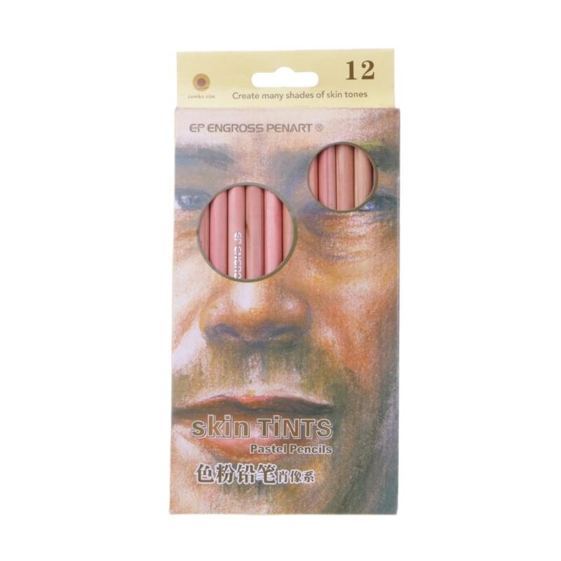 12Pcs Professional Soft Pastel Pencils Wood Skin Tint Pastel Colored Pencil la pastel silver