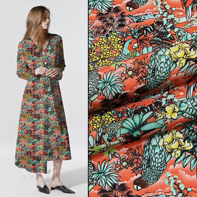 Apparel Sewing & Fabric Orange Parrot Silk Crepe De Chine Cotton And Linen Fabrics Print Fabric For Skirt Dress 50*110cm